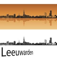 Leeuwarden skyline in orange background vector image vector image