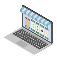 online shop on modern laptop vector image
