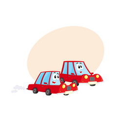 two red car characters racing hurrying somewhere vector image vector image