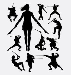 Warrior with weapon silhouette vector