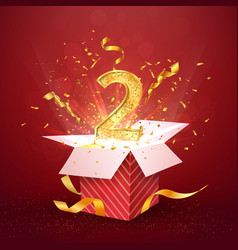 2 nd year number anniversary and open gift box vector image