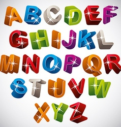 3d font funny colorful alphabet vector
