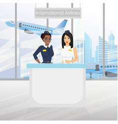 a nice european flight attendant and african vector image