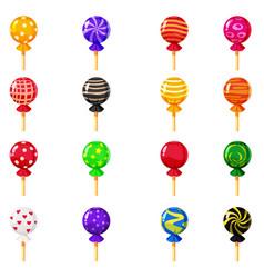 a set of colored candies lollipop caramel vector image