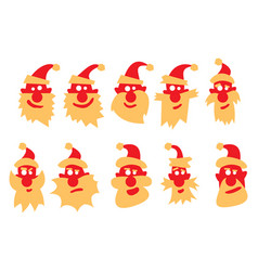 a set of santa claus with different emotions vector image