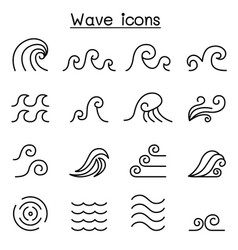 Abstract wave icon set in thin line style vector