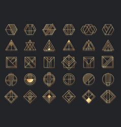 art deco geometric shapes golden geometrical art vector image
