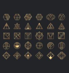 art deco geometric shapes golden geometrical vector image