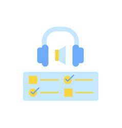 Audio course flat color icon vector