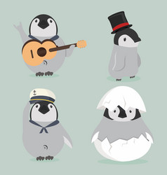 baby penguin characters set vector image