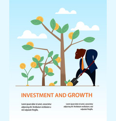 banner bear dig shovel tree business investment vector image
