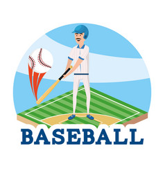 Baseball player with professional bat and ball vector
