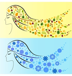 Beautiful girl winter and autumn vector image