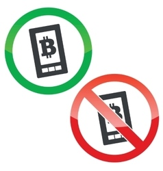 Bitcoin screen permission signs set vector