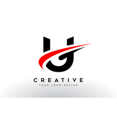 Black and red creative u letter logo design with vector