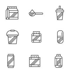 Bodybuilding supplements black line icons vector
