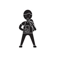 boy with a gadget black concept icon boy vector image