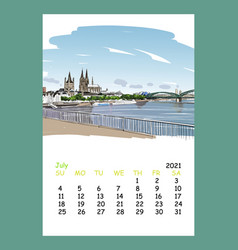 calendar sheet july month 2021 year germany vector image