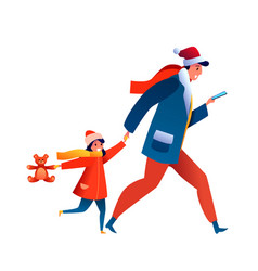cartoon father with girl kid with toy vector image