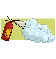 Cartoon fire extinguisher with foam icon vector