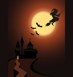 cartoon halloween witch on a broomstick with vector image