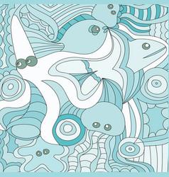 cartoon hand drawn doodles nautical marine vector image vector image