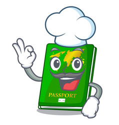Chef green passport in the cartoon shape vector