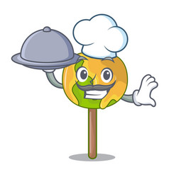 Chef with food candy apple mascot cartoon vector