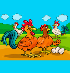 chicken characters group cartoon vector image