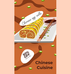 Chinese cuisine asian meal 50 off promo banner vector