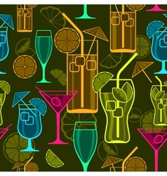 Cocktails background vector image