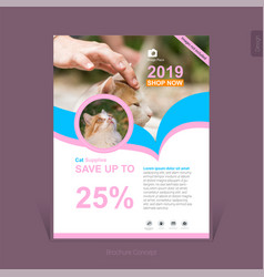 colorful pets supplies business brochure template vector image