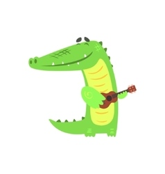 Crocodile Playing Guitar Humanized Green Reptile vector