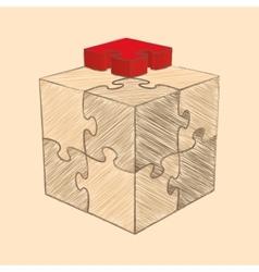 Cube Puzzle Retro Style Sketch vector