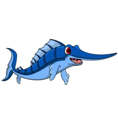 Cute blue marlin cartoon vector