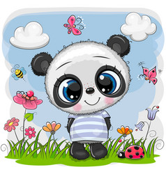 Cute cartoon bapanda on a meadow vector