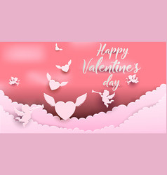 cute for valentines day paper style vector image