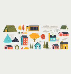 cute houses trendy rural hand drawn landscape vector image