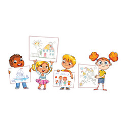 Cute kids show their drawings drawn vector