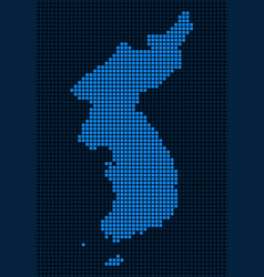 Dot north and south korea map vector