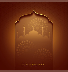 Eid mubarak islamic mosque gate wishes card design vector