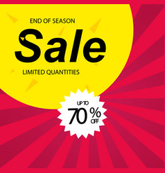 end of season sale up to 70 off red background ve vector image