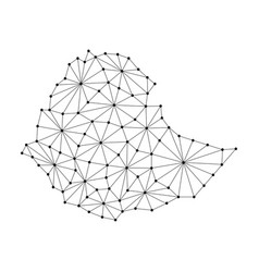 ethiopia map of polygonal mosaic lines network vector image