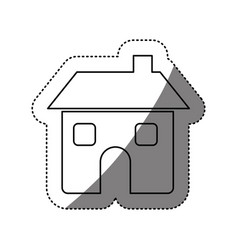 Figure house with two windows door and chimney vector