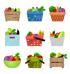 flat set of wooden boxes bowl containers vector image