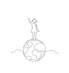 Girl standing on a globe - one line design style vector