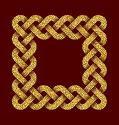 golden glittering square frame in celtic style vector image