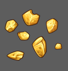 Golden ore set vector
