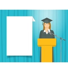 Graduation ceremony speech by a girl graduate at vector image