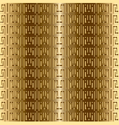Greek key meanders gold 3d seamless pattern vector